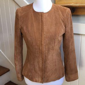 Alfani Genuine Leather Suede Coat in Tan